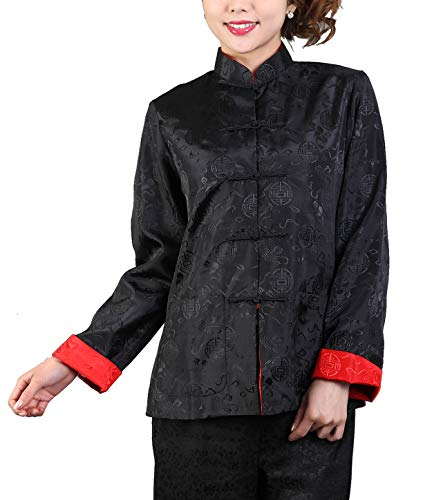 Bitablue Womens Auspicious Reversible Chinese Shirt (Black/Red, Medium)
