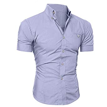 KASAAS Shirts for Men Solid Button Down Collar Short Sleeve Business Shirt Casual Fashion Slim Fit T-Shirt Blouse Best Seller Series