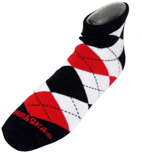 - NCAA Nebraska Cornhuskers Men's Argyle No Show Footie Socks, Red/Black/Gray