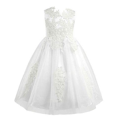 MSemis Flower Girl Water-Soluble Lace Dress Princess Pageant Wedding First Holy Communion Ball Gown Ivory 10 ()