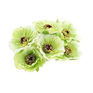BROSCO Artificial 60-Head Sunflower Blossom Silk Flower Bouquet Floral Decor 13 Colors | Color - Light Green 78