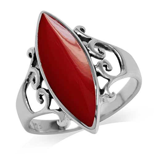 925 Sterling Silver Coral Ring (Created Red Coral Inlay White Gold Plated 925 Sterling Silver Filigree Ring Size 7)