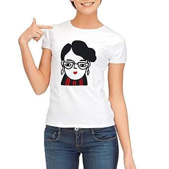 Demiz White Round Neck T-Shirt For Girls