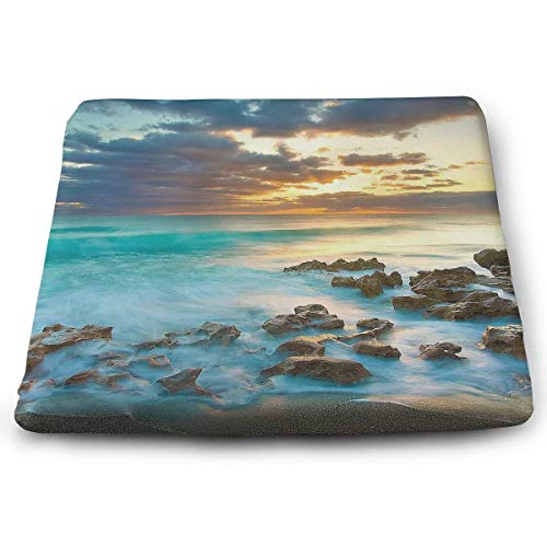 Comfortable Seat Cushion Print Highland Dunes 'Ocean Sunrise - Memory Foam Filled for Outdoor Patio Furniture Garden Home Office from MoralesL-Cushion