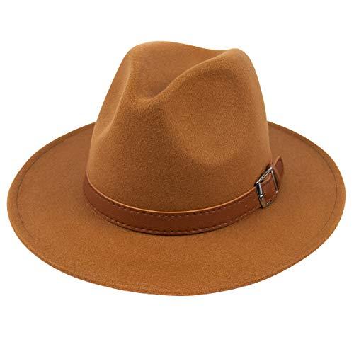 Lanzom Womens Classic Wide Brim Floppy Panama Hat Belt Buckle Wool Fedora Hat (One Size, Z Belt-Khaki) ()