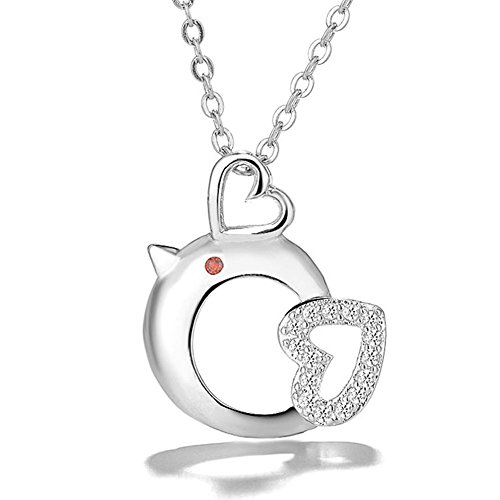 18k Gold Plated Pendant - LUCINE Cute Chicken Love Heart Fashion Pendant Necklace for Women Girls Girlfriend Birthday Gifts