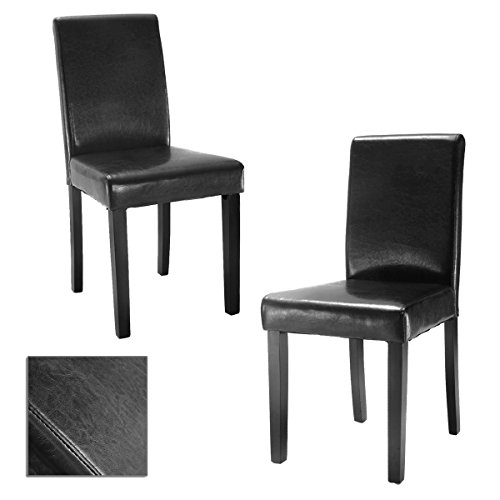 2pcs Elegant Leather Dining Chairs Black With Durable Wooden Frame And Half PU Leather Fabric TSE052A