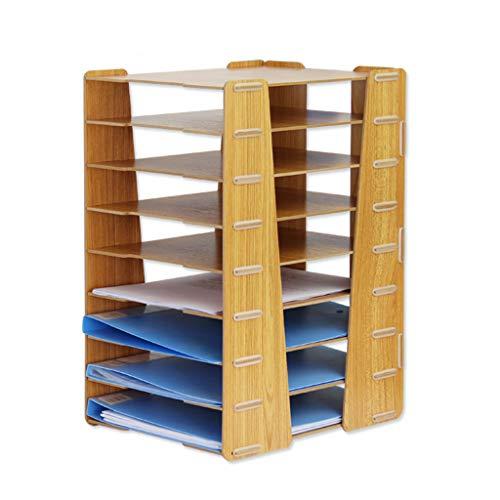 Desk File Racks File Shelf, Creative Wooden Desktop Multi-Layer File Holder Basket Office Supplies Data Storage Rack…