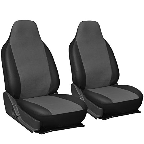 Oxgord 2pc Integrated Leatherette Bucket Seat Covers, Universal Fit for CarTruckVanSUV, Gray Black