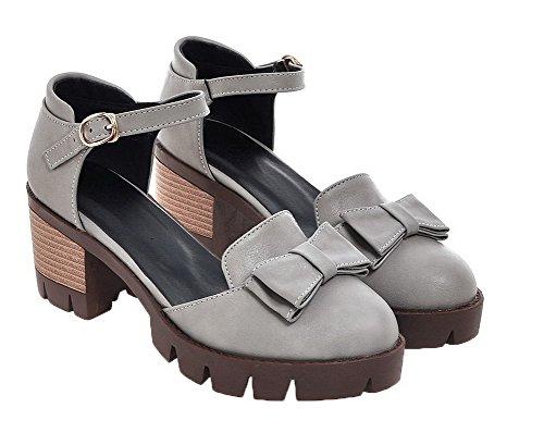 Kitten EGHLH005596 Gray WeiPoot Solid Toe Buckle Heels Sandals Women's PU Round 5xx1g6