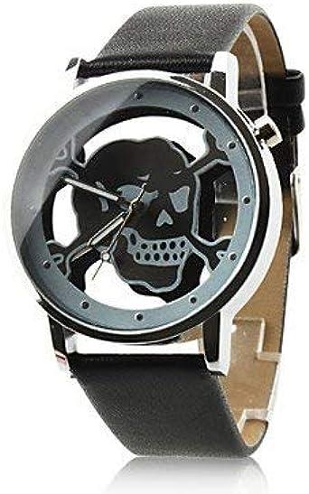 fenkoo Mujer Reloj Tendance cuarzo PU banda cráneo negro/blanco/rosa marque-