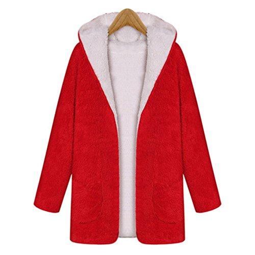 Otoño Honghu Redondo Invierno Coat Rojo Largas Cuello Abrigos Largo Outwear Slim Mujer Mangas Woll Encapuchado E Chaqueta XrHXq