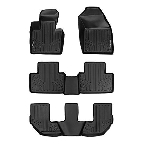 Black Volvo Floor Mat - MAX LINER Custom Fit Floor Mats 3 Row Liner Set Black for 2016-2019 Volvo XC90 - No Plug-in Hybrid Models (Black)