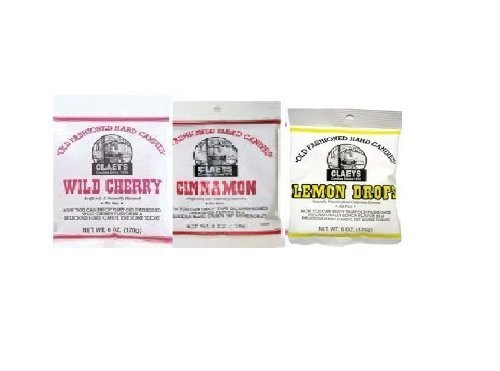 Claeys Cinnamon, Lemon Drops and Wild Cherry Set - 3 Pack (1 - 6oz Bag of Each)