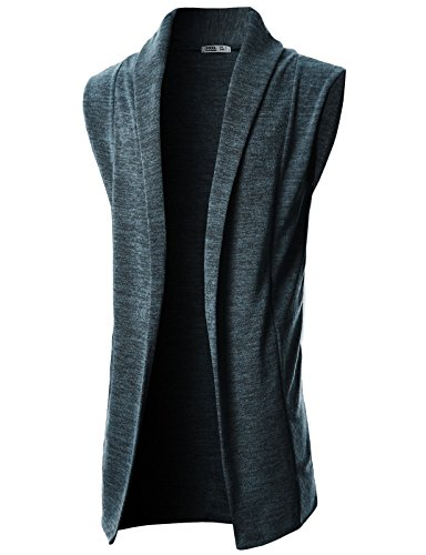 GIVON Mens Sleeveless Draped Open Front Shawl Collar Knitted Long Vest/DCC031-CHARCOAL-L