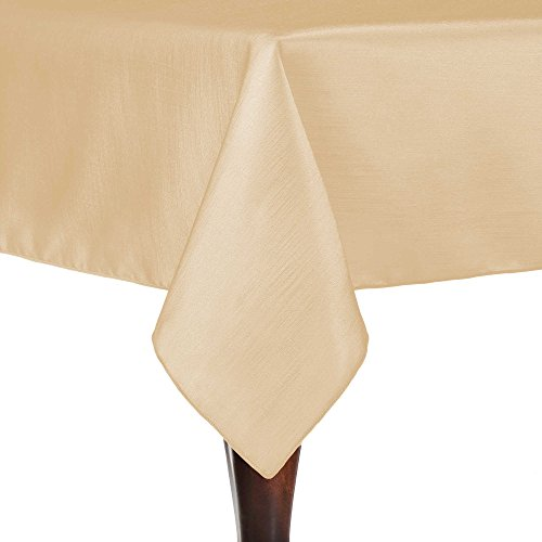 Ultimate Textile Reversible Shantung Satin - Majestic 72 x 72-Inch Square Tablecloth Camel Light Brown -