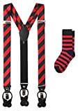 Jacob Alexander Matching College Stripe Suspenders and Dress Socks - Red Black