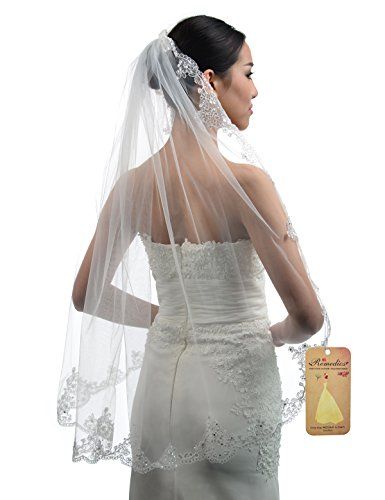 Price comparison product image Topwedding Ivory 1 Tier Tulle Bridal Wedding Veil with Sequined Lace Hem