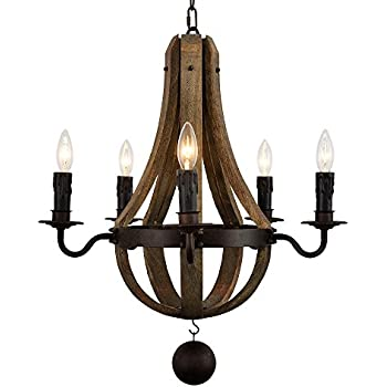 Rustic wine barrel stave reclaimed wood rust metal chandelier with docheer 5 light vintage rust iron wood chandelier lighting large dia 22 wine barrel stave reclaimed wood rust metal chandelier with candle holder pendant mozeypictures Gallery