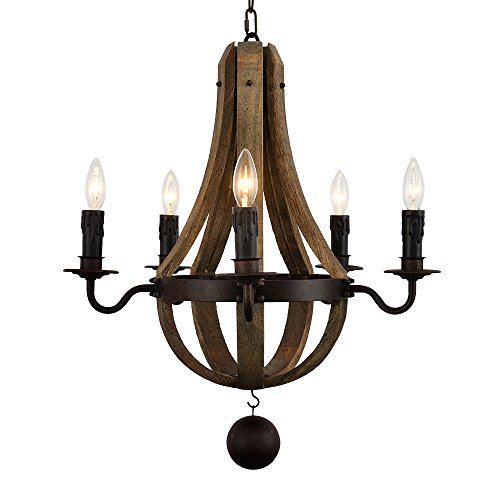 Wooden Metal Pendant Chandelier 21x21x23-inch American Countryside Style Rustic Iron Swag Lighting 5pcs E12 Socket Home Decorations 21 Rustic Iron