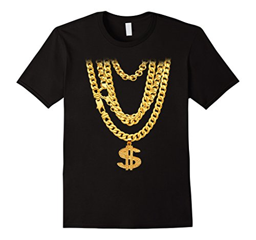 Men's Hip-Hop Gold Chains with Dollar Symbol Bling Funny T-Shirt XL Black (Gangster Outfits For Men)