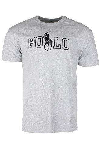 Polo Ralph Lauren Mens Crew Neck Graphic Logo T-Shirt (XL, Gray) (Ralph Lauren Tee)