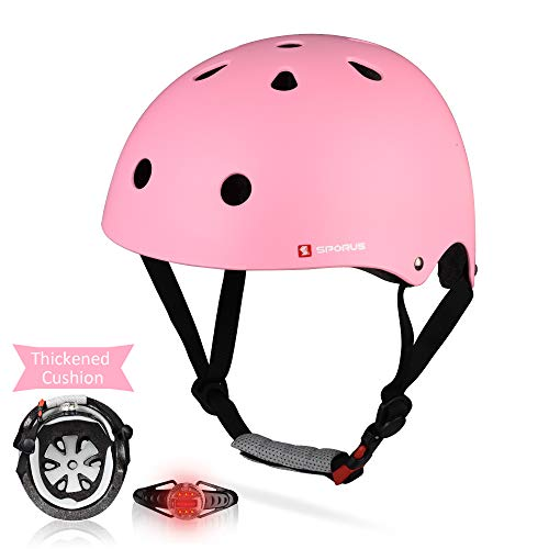 SPORUS Kids Toddler Helmet CPSC and ASTM Certified Impact Resistance Adjustable Helmet with Thicken Cushion and Safety LED Light Multi-Sport Cycling Scooter for Boys Girls Youth Pink S[2019 Upgraded]