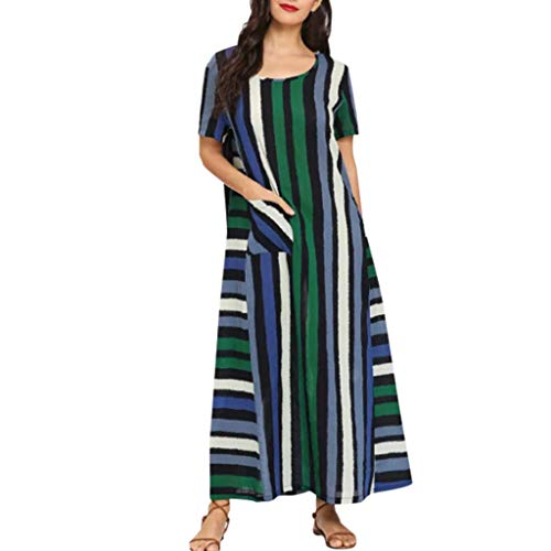 HHmei Women Cotton Linen Striped Color Potchwork Short-Sleeved Loose Plus Size Dress Shirts Elegant Polka Dot Party Black Short Shift Little Tshirt Button Down White Summer Mermaid (Green M)