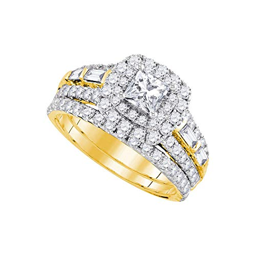 Jewels By Lux 14kt Yellow Gold Womens Princess Diamond Halo Bridal Wedding Engagement Ring Band Set 2.00 Cttw In Invisible Setting (I1 clarity; G-H -