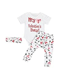 Blackobe Infant Baby Boy Girl Romper+ Pants+ Headband 3PCS Valentine's Outfits Set