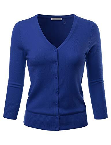 Button Long Cardigan Three (EIMIN Women's 3/4 Sleeve V-Neck Button Down Stretch Knit Cardigan Sweater RoyalBlue 1XL)