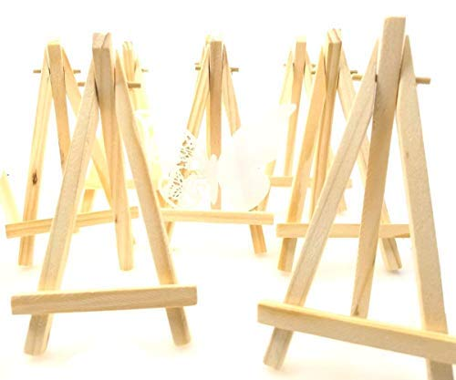 Holder Places (JZK 10 x Mini Little Small Wood Chalkboard Display Easel Party Sign Photo memo Holder Place Card Name Card Table Number Holder Stand for Wedding Birthday Baby Shower Party & bar Table Setting)