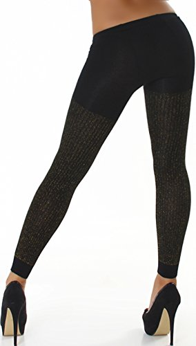 Jela London Damen Glanzvolle Schwarze Stoff-Leggings GoGo Freizeit Glitzer Gold Strumpfhose Stretchhose (32 34 36 38)