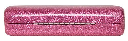 Poetic Pink Medium Premium Fashion Women's Hard Eyeglasses Case By Spunky Soul   Glitter Light Pink   Bonus Cleaning Cloth by SPUNKYsoul (Image #2)