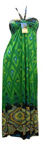 Women's Maxi Halter Dress Paisley Print Beaded-Straps (Large, Green)