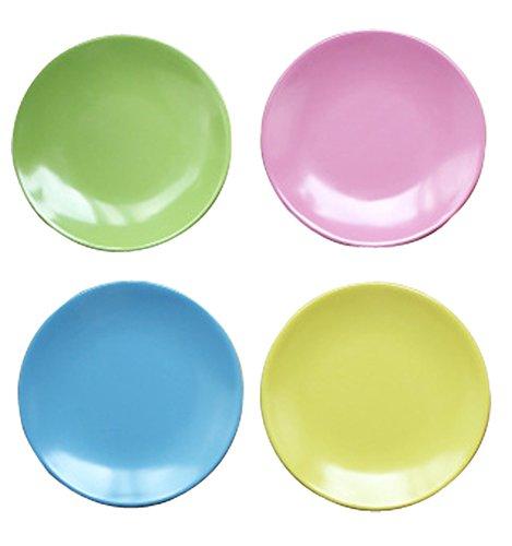 4-Piece Dinner Plate Set Reusable Hard Plastic Dessert Plate Solid Pink Blue