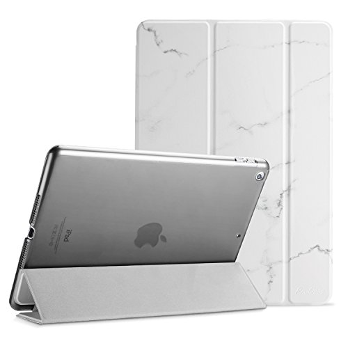 ProCase iPad 9.7 Case 2018 iPad 6th Generation Case / 2017 iPad 5th Generation Case - Ultra Slim Lightweight Stand Case with Translucent Frosted Back Smart Cover for Apple iPad 9.7 Inch -White Marble (Ipad Air 2 Vs Ipad 5th Generation)