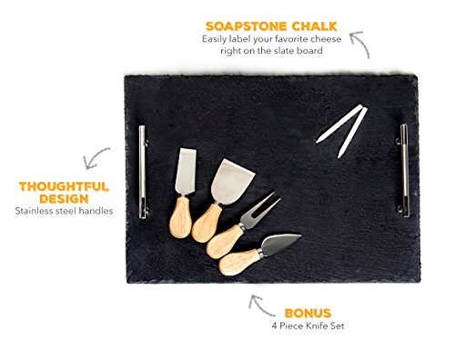 Slate Cheese Board - 7 pc Serving Tray Set 16''x12'' Large - Stainless Steel Handles - Soapstone Chalk - 4 Cheese Knives - Foam Protective Feet by Proper Goods by Proper Goods (Image #4)