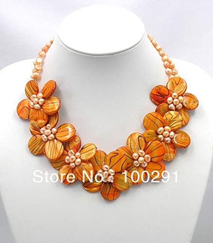 (Necklace Earring Sets | Jewelry Sets | Orange/Zebra/Pearl/Mop Shell | Pearl Wired Flower)