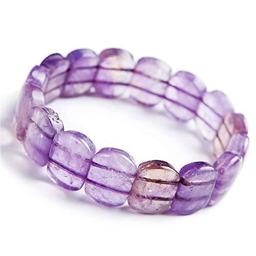 (DUOVEKT Natural Ametrine Jewelry for Women Men Purple Quartz Rectangle Gemstone Stone Crystal 16x6mm Beads Stretch Fashion Bracelet AAAA)