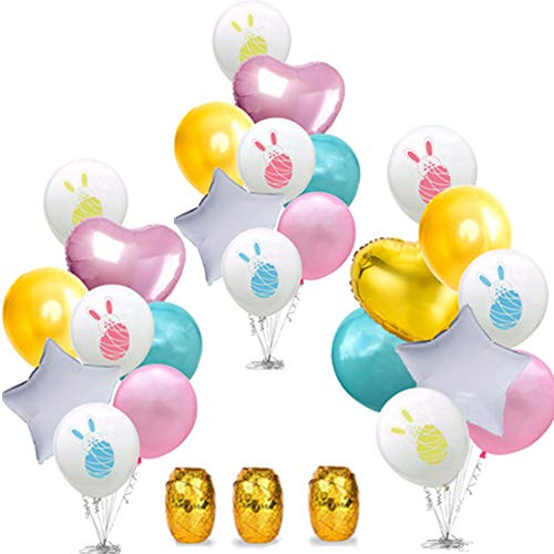 Easter Balloon - Easter Balloon Decoration Set, Include 24 Pieces Bunny Cartoon Pattern Balloons Colorful Latex Balloons and 3 Rolls Ribbons for Easter Party Decoration Supplies