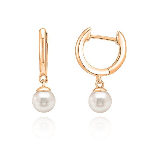 Earrings Leverback Dangle 14k (PAVOI 14K Rose Gold Plated Shell Pearl Leverback Huggie Drop Earring)