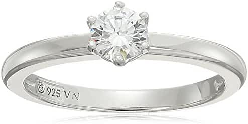 Platinum Plated Sterling Silver Swarovski Zirconia Round Cut Solitaire Ring