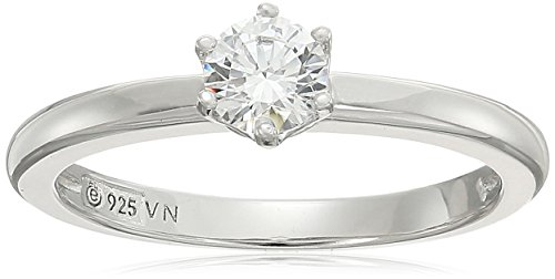 Platinum-Plated Sterling Silver Swarovski Zirconia Round Cut Solitaire Ring, Size ()