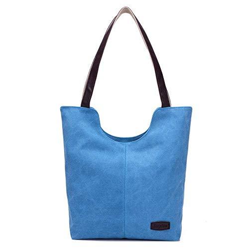 Bolso Blanco Eeayyygch Lona Hombro Wild Leisure Simple De Tamaño Student Bolsa color Azul Mujer 7qrxwftW7E