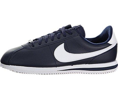 Nike Mens Cortez Basic Leather Casual Shoe Obsidian/White/Metsllic Silver 10 D(M) (Cortez Nylon)