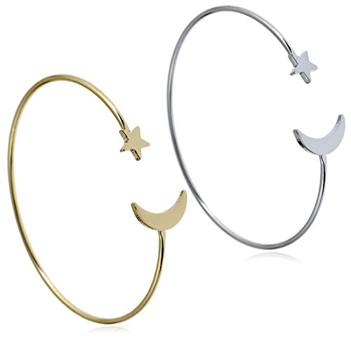 YINLI 2 Pack Simple Cuff Bracelet Bangle Adjustable Bracelets for Women Girls (Star and Moon) (Star Moon Bracelet)