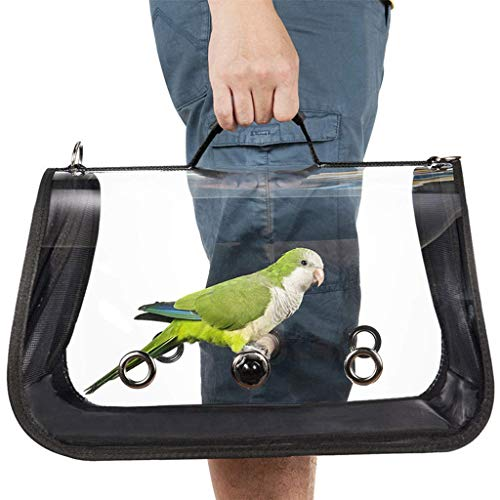 charts_DRESS Outdoor Travel Transport Parrot Cage Bird Carriers Accessories PVC Transparent Breathable Parrot, Parakeets, Cockatiels, Conures Handbag (Black)