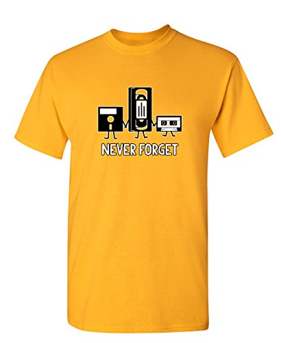 Never Forget Funny Retro Music Mens Novelty Funny T Shirt 2XL Gold