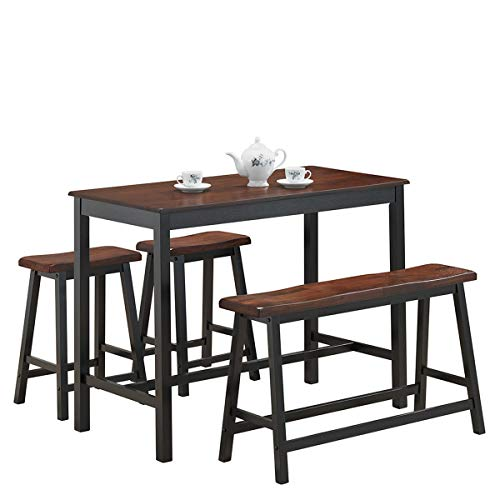 COSTWAY 4PC Counter Height Table Set Simple Dining Set Modern Style with One Height Bench and Two Saddle Stools, Solid Wood, with Foot Pads, Home, Kitchen, Living Room Furniture (Black & Brown)